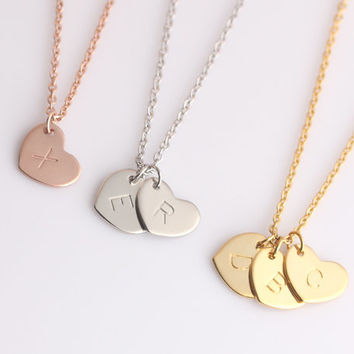 Personalized Initials Small Heart Necklace - Womens Dinaty Gold initials Pendant - Monogram Necklace - Girlfriend Gift - Wife Gift