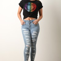 Distress Slash High Rise Denim Jeans