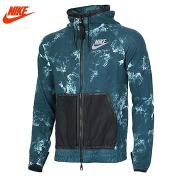 Authentic Nike men's spring sports knitted hooded jacket 802368-346