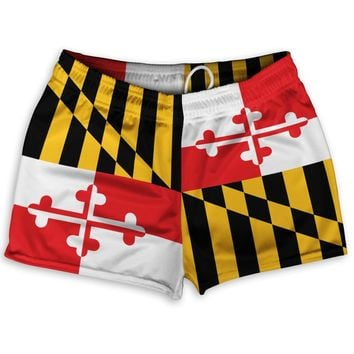 "Maryland Flag Athletic Shorts Shorty Short Gym Shorts 2.5""Inseam"