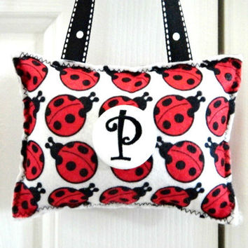Ladybug Door Hanger Pillow  Red Black White  by PookieandJack