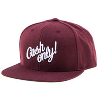 The Cash Only Snapback Hat (Burgundy)