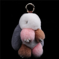 Fur bunny keychain Pendant Rex Rabbit's Hair Bag Automobile Key holder ring chain Jewelry Exceed Adorable Rabbit keychain