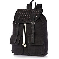 Black denim studded panel rucksack