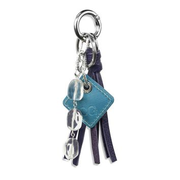 Lucca Leather Bag Charm-Purple