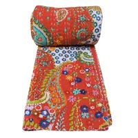 India Artisan Bohemian Red Queen Size Bed Throw Quilt