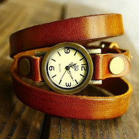 Men Wrist Watch, Real Leather Wrist Watch. Wrap wrist watch,Retro style watch, Women Watch  FYB0154