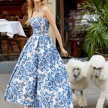 Strapless Print High Low Dress
