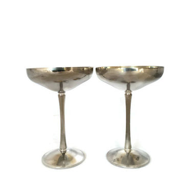 Vintage Silver Plate Kirk Stieff Coupes Champagne Goblet Chalice Wine Glass Dessert Cup Made in Spain