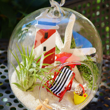 Lighthouse Beach Vacation Terrarium - Glass Globe Hanging Terrarium Kit with AirPlant ~ Home Decor ~ Beach Chair + Umbrella + Bucket ~ Gift