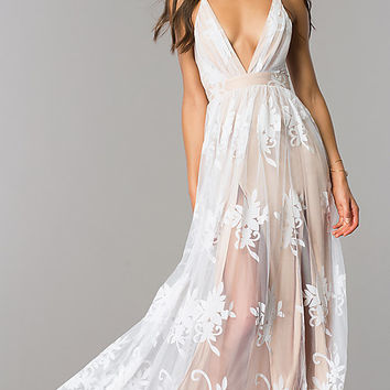 Long V-Neck Illusion Open-Back Dress with Print