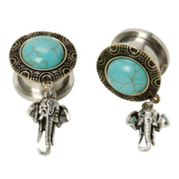 Steel Turquoise Stone Gold Filigree Elephant Dangle Spool Plugs 2 Pack