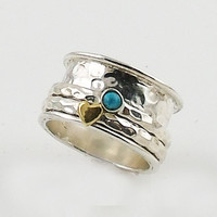 Spinner Ring TwoTone Turquoise Heart