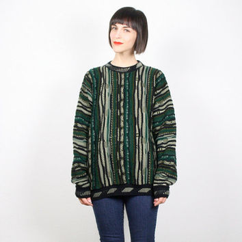 Vintage Cosby Sweater Black Brown Green Sweater Jumper Pullover Textured Knit Striped Coogie Sweater Style 1980s 80s Mod New Wave L Large