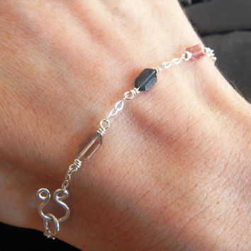 Delicate Tourmaline and Sterling Silver Bracelet, Minimalist Bracelet, Gemstone Bracelet, Tourmaline Bracelet, Multicolor Tourmaline