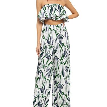 Floral Ruffle Bandeau Two-Piece Jumpsuit