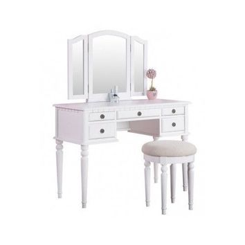 White Vanity Set Table Chair Stool Girls TriMirrors Bedroom Furniture LiliSimply