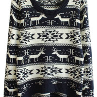 ROMWE | ROMWE Deer Geometric Pattern Long Sleeves Deep Blue Jumper, The Latest Street Fashion