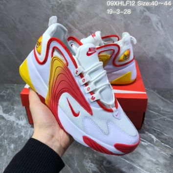 hcxx N1175 Nike Zoom Winflo 2000 Mid Fashion Mesh Running Shoes White Red Yellow