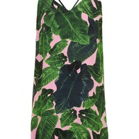 Palm Print Cross-Back Slip Dress - Topshop
