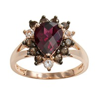 14k Rose Gold Rhodolite Garnet, White Topaz & Smoky Quartz Teardrop Ring