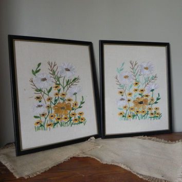 Vintage framed crewel work embroidery black frame floral work
