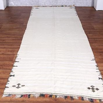 Antique OLD White Berber, 4ft x 9.4ft, Wedding Berber Blanket Moroccan Rug, Vintage Wool Carpet, Tribal Vintage Rug, Berber Rug