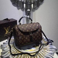 "Louis Vuitton Brown Coated Canvas & Leather Monogram ""Metis Hobo"" Bag"