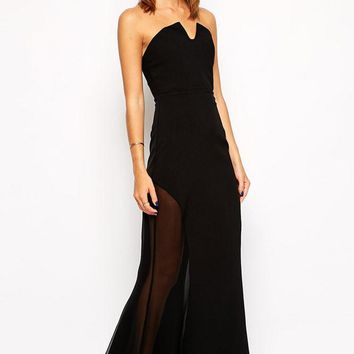 Chicloth Black Sheer Insert Strapless Maxi Dress