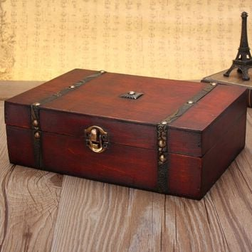 Vintage Jewelry Gift Box Wooden Treasure Trinket Retro Earring Storage Case