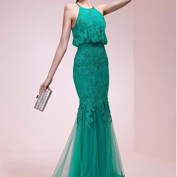 [138.99] Marvelous Lace Halter Neckline Mermaid Evening Dresses With Lace Appliques - dressilyme.com