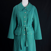 Vintage 70s MOD Blue and Green Princess Coat M Cyber Monday Sale!