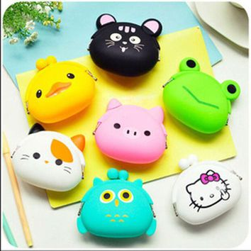 DCCKL3Z 2016 New Fashion Lovely Kawaii Candy Color Cartoon Animal Women Girls Wallet Multicolor Jelly Silicone Coin Bag Purse Kid Gift