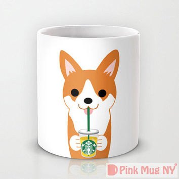 Personalized mug cup designed PinkMugNY - I love Starbucks - Welsh Corgi
