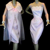 Vintage 50s White Lace & Pink Chiffon Dress Coat Set S ~ Strapless Illusion Neckline ~ Wiggle Skirt ~ Sheer Swing Coat ~ Deadstock