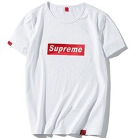 SUPREME 2018 new men's tide brand T-shirt simple letter short sleeve F0280-1 White