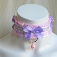 Ddlg collar - Lilac roses -  kittenplay kitten play pet pastel purple and pink lace choker with bell kawaii harajuku lolita - nekollars