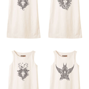 Hand draw Religion Female Portrait Printed Vintage Linen Mini Shift Dress WDS_01