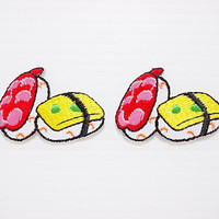 Set 2pcs. Little Japanese Sushi Food New Iron On Patch Embroidered Applique Size 3.8cm.x2.6cm.