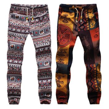 Harem Pants Casual Slack Trousers Mens Hippie Drawstring Linen Exotic Pattern