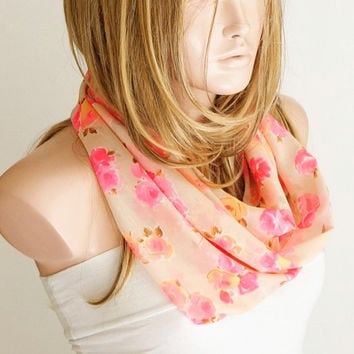 NEW NEON Infinity Scarf, Loop Scarf...Neon Color Dancing...Chiffon... Flower Scarf