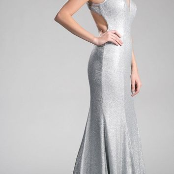 Silver Long Prom Dress with Illusion Neckline and Cut-Out Back
