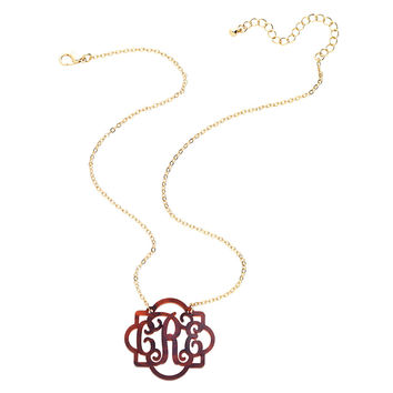 Fancy Monogrammed Necklace in Multiple Colors