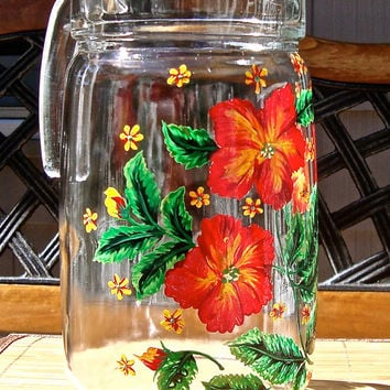 Hand Painted Pitcher With Bright Red Flowers