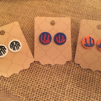 Monogrammed acrylic earrings