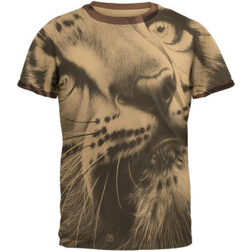 Snow Leopard Cub Ghost Close Up Tan-Brown Men's Ringer T-Shirt