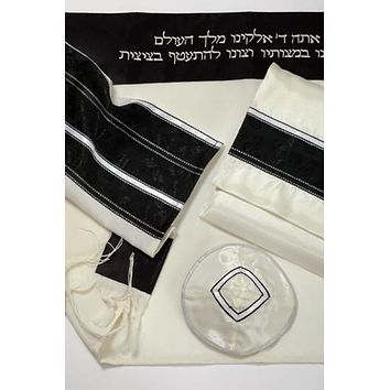 Fancy Black Silver Wool Tallit