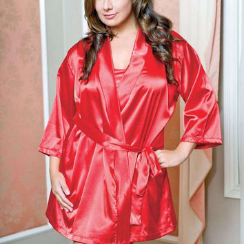 iCollection Lingerie Plus size Satin 3/4 Sleeve Robe With Matching Sash
