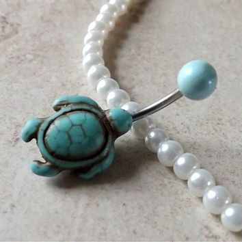 Turquoise Turtle Belly Ring Navel Ring Mint Green Ball Belly Ring Body Jewelry