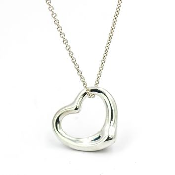 Tiffany & Co. Elsa Peretti 22mm Open Heart Pendant Necklace in Sterling Silver